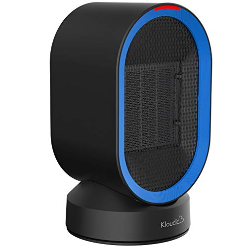 KLOUDIC QN04 Ceramic Space Heater Portable Oscillating Electric Heater Tip-Over and Overheat Protection Warm and Natural Wind Mini for Home Office Use-Black