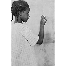 Young African American Girl at Chalkboard Photograph (9x12 Art Print, Wall Decor Travel Poster)
