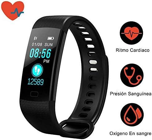 41FahdumgFL. AC  - Awopee Smartwatch Pulsera Inteligente,Pulsera Inteligente Smartband Bluetooth,con Podómetro, Contador de Calorías y Kilómetros, Notificaciones de Mensajería y Llamadas, Monitor de Ritmo Cardiaco, A Prueba de Agua y Polvo, Compatible con Android y iOS #Amazon