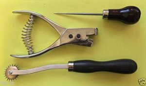 CHENGYIDA 4 Basic Pattern Making Supplies : Pattern Notcher, Automatic Hole Punch ,Tracing Wheel/ Overstitch Wheel , Awl