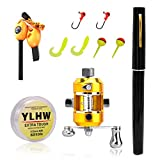ActionEliters Portable Fishing Rod Pole and Reel Combo Set - Telescopic Pocket Fishing Pen Rod Pole + Reel Aluminum Alloy Fishing Line Soft Lures Baits Jig Hooks Firestarter Compass Whistle