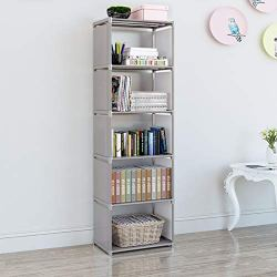 EunSung Simple Bookcase – Storage Storage Book Media CD, DVD Folder CD 5 Lattice (Gray)
