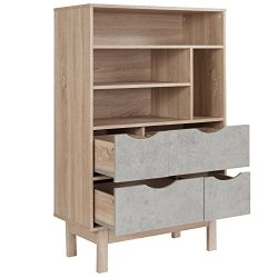 Flash Furniture St. Regis Collection Bookshelf and Storage Cabinet in Oak Wood Grain Finish with Gray Drawers