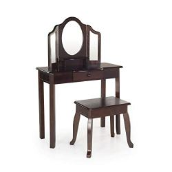 Guidecraft Classic Espresso Vanity and Stool: Kids' Wooden Dress Up Table and Chair Set with 3 Mirrors and Makeup Drawer Storage – Children's Room Furniture
