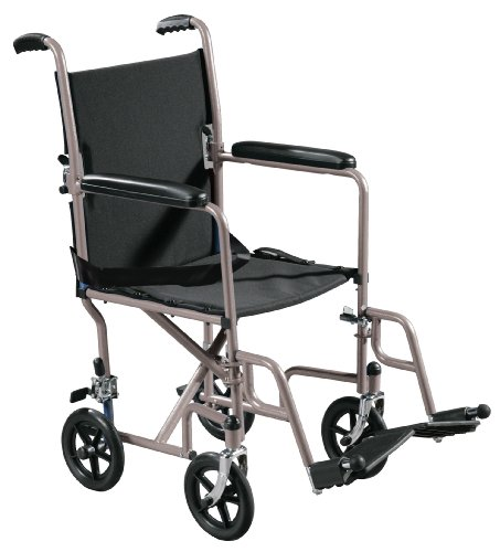 Drive Medical Lightweight Steel Transport Wheelchair, Fixed Full Arms, 19' Seat, Silver