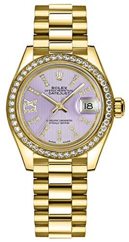 61G6QPmwVgL Lilac Purple Dial with Index Diamond Hour Markers and Diamond Roman Numeral 9 O'clock Hour Marker Diamonds Set on Solid 18K Yellow Gold Bezel Solid 18K Yellow Gold Case and President Bracelet