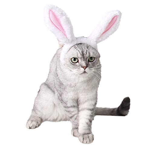 CheeseandU 1Pc Cute Pet Bunny Ears Headband for Dogs Cats Pet Halloween Christmas Easter Party Costume Head Wear Accessories, White&Pink 1