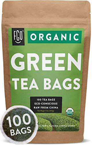 Organic Green Tea Bags   100 Tea Bags   Eco-Conscious Tea Bags in Foil Lined Kraft Pouch   by FGO