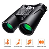 Binoculars 10x42 with BAK4 Prism, Fully Multi-Green Coated Lens, Rotating Eye Mask for Adults, Bird Watching, Concerts, Camping, L Bracket, Phone Adapter, Carry Case Included - MBC02