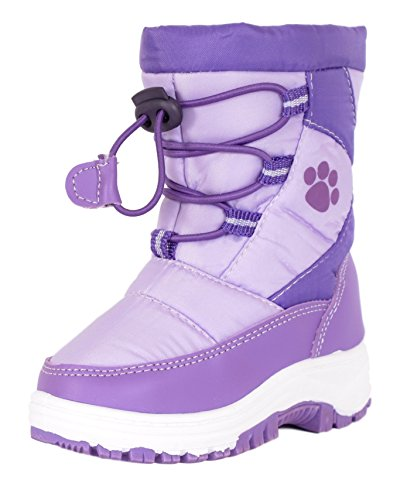 Rugged Bear Girls PAW Print Snow Boot Lilac Purple 11