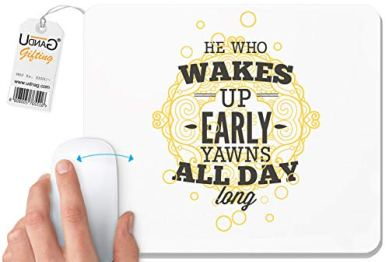 Photo of Quote UDNAG White Mouse Pad |  The one who gets up early yawning all day 'for pc / pc / laptop [230 x 200 x 5mm]