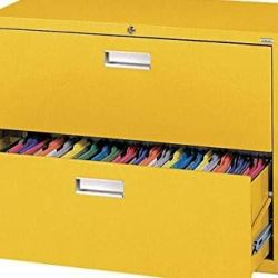Sandusky Lee LF6A362-EY 600 Series 2 Drawer Lateral File Cabinet, 19.25″ Depth x 28.375″ Height x 36″ Width, Yellow