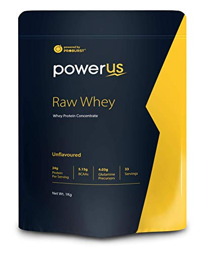 Powerus Raw Whey Protein Powder 1Kg   80% Concentrate Whey   33 Servings   24 gm Protein, 5.1 gms BCAA and 4 gms Glutamine Per Serving – Unflavoured