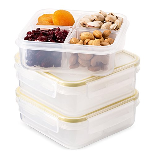 Komax Biokips Food Storage Lunch Container - Dividers With 4 Compartments 23oz. (set of 3) - Airtight, Leakproof With Locking Lids - BPA Free Plastic - Microwave, Freezer and Dishwasher Safe
