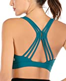 RUNNING GIRL Strappy Sports Bra for Women, Crisscross Back Yoga Bra Medium Support Activewear Fitness Bra with Removable Cups(WX2355 Teal.L)