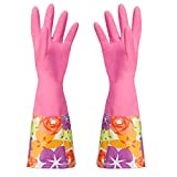 Cute Cleaning Gloves Kitchen Gloves VANORIG Thickening Waterproof Dish Washing Gloves Household Gloves with Lining,1 Pair (Flowers-02)