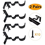2 Pairs Curtain Rod Holders Set Double Curtain Rod Brackets No Drilling Tap Right into Window Frame for 1.2 or 3/4 Inch Rods Window Bedroom Decoration- Adjustable Curtain Rod Brackets