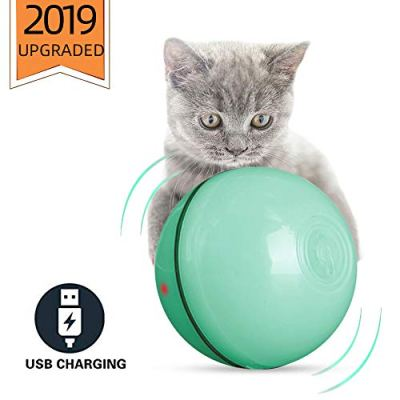 ELEBOOT 2020 Upgrade Vision Smart Interactive Cat Toys Ball,Automatic Rolling Laucher Ball for Kitten, USB Rechargeable Pet Toy, with Spinning LED Light,Wicked 360 Degree Self Rotating Ball