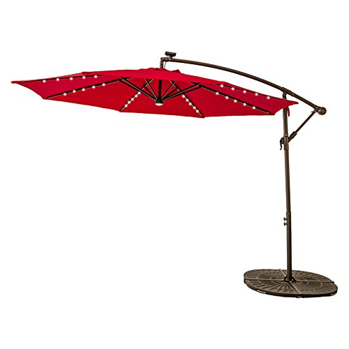 FLAME&SHADE 10 FT Solar LED Lights Outdoor Offset Cantilever Umbrella Hanging Patio Parasol Crank Lift Large Round Red