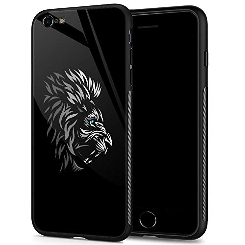 iPhone 6s Case,9H Tempered Glass iPhone 6 Cases for Men Boys,Cool Tribal Profile Lion Pattern Design Printing Shockproof Anti-Scratch Case for Apple iPhone 6/6s 4.7 inch Tribal Lion