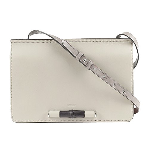 """41GSCKc3sPL Gucci Lady Bamboo Leather Shoulder Handbag 370817 AP0BN 9072 (Off-White) Measures 12"""" length x 3"""" width x 7"""" height, Shoulder Strap Drop14.6"""" drop White/bone soft leather with grey leather, hand-painted edges"""