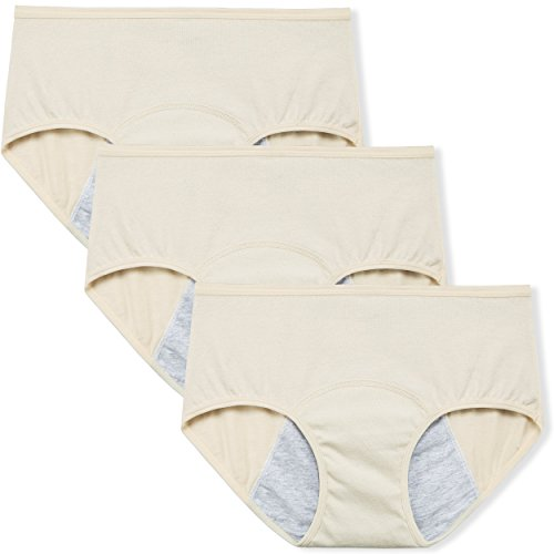 Innersy Women's Period Panties Menstrual Heavy Flow Postpartum Underwear C-Section Recovery Maternity Hipster for Teens (XS, 3 Beige)