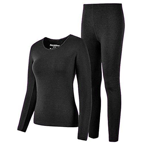 HEROBIKER Thermal Underwear Women Set Winer Skiing Warm Top Thermal Long Johns M, Black