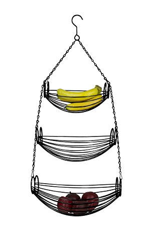 Home Basics 3-Tier Adjustable Chrome Heavy Duty Wire Hanging Fruit or Vegetable Kitchen Storage Baskets, Black Finish, Hammock Style