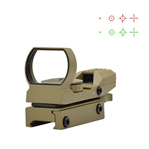 Feyachi 1x33mm Reflex Sight - Dark Earth Tan Scope Sight Both Red and Green & 4 Reticals for Picatinny/Weaver Rails
