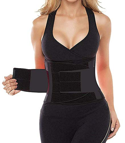 SHAPERX Women's Waist Trainer Belt Waist Training Corset Waist Cincher Slimming Body Shaper for an Hourglass Weight Loss Workout Gym Fitness Trimmer Slimmer Shaper, SZ8002-Black-M