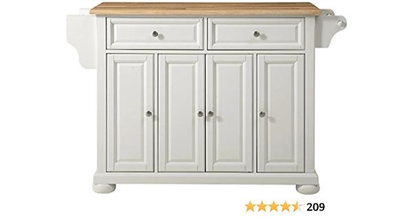 Amazon Com Crosley Furniture Alexandria Full Size Kitchen Island With Natural Wood Top White Kitchen Islands Carts