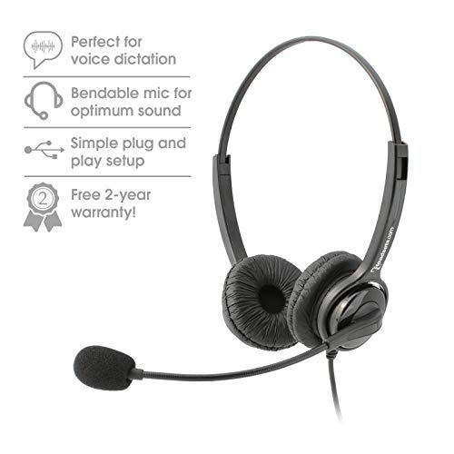 Executive Pro Overture Premium Binaural Noise-Canceling Corded USB Headset. Works with Mac and PC