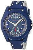 A|X Armani Exchange Men's Hybrid Smartwatch, Blue Silicone, 44 mm, AXT1002