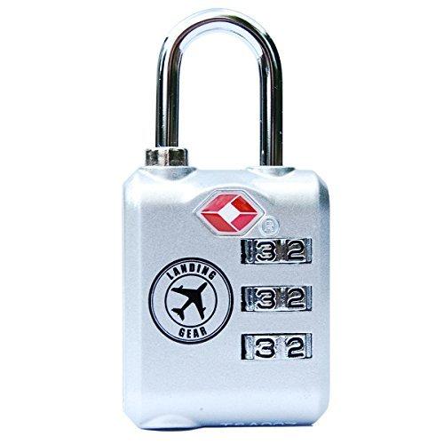 TSA Lock Heavy Duty 3 Digit Combination Luggage Padlock Travel Security Approved (Black)