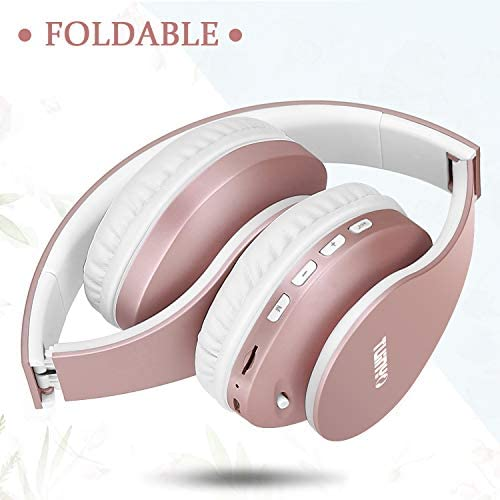 Bluetooth Headphones,TUINYO Wireless Headphones Over Ear with Microphone, Foldable & Lightweight Stereo Wireless Headset for Travel Work TV PC Cellphone-Rose Gold 16