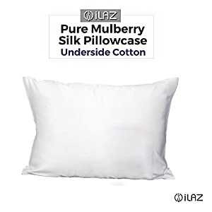 iLAZ 100% Pure Mulberry Silk Pillowcase for Haircare with Cotton Underside Hidden Zipper Closure Charmeuse Hypoallergenic Queen 20x30 Inch(50x75cm) Ivory White 1pc 19 Momme Gift Box