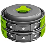 Gold Armour 10Pcs Camping Cookware Mess Kit Backpacking Gear & Hiking Outdoors Bug Out Bag Cooking Equipment Cookset | Lightweight, Compact, Durable Pot Pan Bowls (Green)