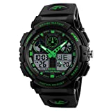 Islandse💖💖SKMEI Men LED Large Dial Digital Watch Waterproof Alarm Calendar Sport Watch (Green)