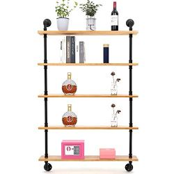Yuanshikj 2Pc(59″ Tall) Industrial Wall Mount Iron Pipe Shelf Shelves Shelving Bracket Floating Rustic Heavy Duty Retro DIY Open Bookshelf Bookcase Storage Office Home Holder Black Hardware Only