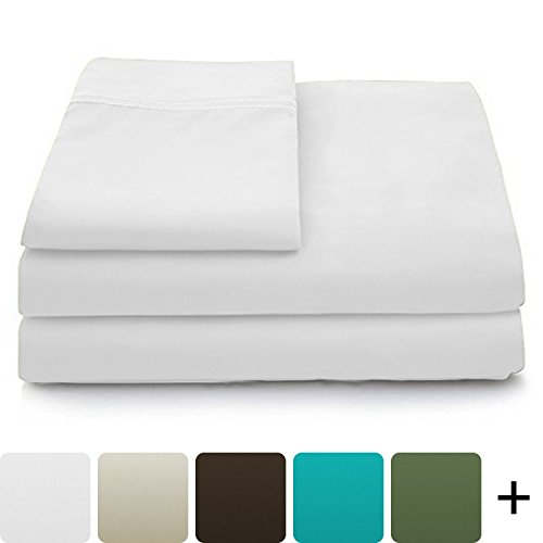 Cosy House Collection Luxury Bamboo Bed Sheet Set - Hypoallergenic Bedding Blend from Natural Bamboo Fiber - Resists Wrinkles - 4 Piece - 1 Fitted Sheet, 1 Flat, 2 Pillowcases - King, White