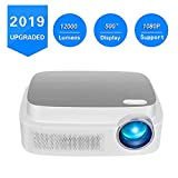 Portable Projector -12000 lumens WiFi 1080p Video Projector LCD LED Full HD Theater Projector, Ideal for Home Entertainment (White1)