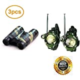 SAIBANG Kids Walkie Talkies and Binoculars for Kids - Outdoor Toys Two-Way Radios Walky Talky for Children, Cool Outdoor Walkie Talkie Kit for Boys and Girls + Kids Binoculars, Camouflage