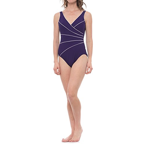 41H%2BZ34dSHL Hidden comfortable control panel with twice the hold-in power of regular swimwear visually shapes and smooths trouble zones Gorgeous rich color with contrast piping details in a slimming asymmetrical design Quick-drying, stretchy nylon-spandex fabric blend