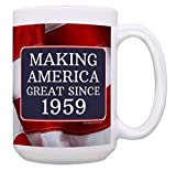 60th Birthday Gifts for All Making America Great Since 1959 Turning 60 Birthday Gift Ideas MAGA Coffee Mug Birthday Mug MAGA Gifts 15-oz Coffee Mug Tea Cup 15 oz American Flag