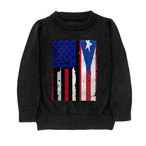 Puerto Rico American USA Flag Pride Sweater Youth Kids Funny Crew Neck Pullover Sweatshirt