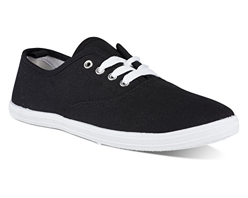 Twisted Women's Tennis Basic Athletic Lace Up Sneaker - Tennis Black, Size 9