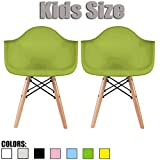 Product review for 2xhome - Set of Two (2) - Green - Kids Size Eames Armchairs Eames Chairs Green Seat Natural Wood Wooden Legs Eiffel Childrens Room Chairs Molded Plastic Seat Dowel Leg