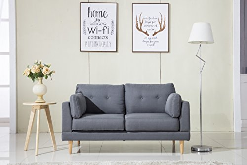 Divano Roma Furniture Mid Century Modern Ultra Plush Linen Fabric Sofa, Color Dark Grey and Light Grey (Dark Grey)