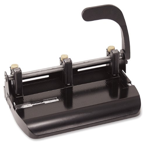Officemate Heavy Duty Adjustable 2-3 Hole Punch with Lever Handle, 32-Sheet Capacity, Black (90078)