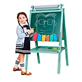3 in 1 Wooden Kids Easel Double-Sided Magnetic Drawing Board Whiteboard & Chalkboard Dry Easel with Drawing axis & Paper Roll, Bonus Magnetics, Numbers, Paint Cups for Writing Kids Boys Girls (Turkis)